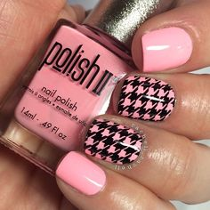 Pink houndstooth nails