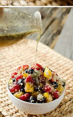 Mix fresh fruit and quinoa with homemade citrus poppyseed dressing for a flavor explosion!   easy salad