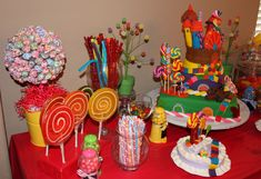Candyland party. Candy table and games/activities to do during the party.