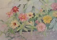 """In the Corner"" by Mary K Hyatt   Colored Pencil ~ 13"" x 18""  Small flowers growing in the corner of a neighborhood sidewalk."