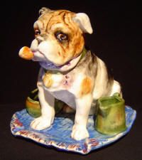 Unattributed Majolica Match Stiker, Fiural Dog with Pipe on Blue Carpet 19th century