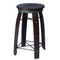 Our American made Daisy Swivel Stave Stool is made from reclaimed wine barrel staves and hand forged wrought iron. The swivel top is made from rough sawn pine with a wine barrel ring on the base of the seat. This stool does not have the personalization.