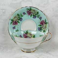 Vintage Aqua Blue Floral Floral Paragon Tea Cup and by scdvintage, $45.00
