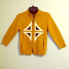 Mustard yellow vintage ski cardigan Appliqué! Sweet piece. Too small for me. Vintage Sweaters Cardigans