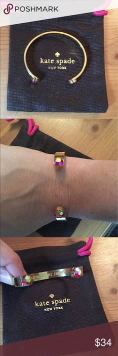 """Kate spade forever Gems cuff - pink NWT with inspirational idiom """"paint the town red"""" on inside. Pink end at either end and gold colored cuff. 12"""" end to end if it were straightened. kate spade Jewelry Bracelets"""