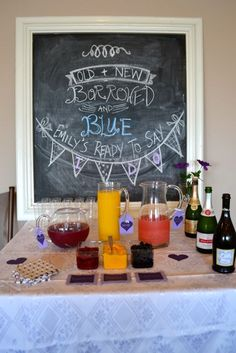 Fun chalkboard sign and cute poem for a bridal shower decoration! old + new borrowed and blue (bride's name) ready to say i do! #bridalshower #wedding #weddingshower