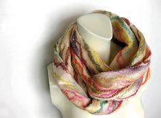 Felted Scarf Cobweb Wool Silk Multicolor by avivaschwarz on Etsy, $95.00
