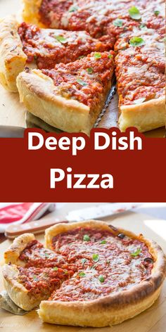 Here's how to make authentic-tasting Chicago deep dish pizza. Complete with the buttery crust, slightly sweet tomato sauce, and a thick layer of cheese.  #deepdish #deepdishpizza #pizza