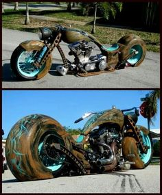 Turquoise ratted chopper