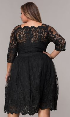 9a513180b6a Short Embroidered-Mesh Plus-Size A-Line Party Dress