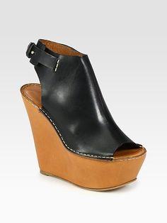 Chloé - Leather Slingback Wedge Sandals