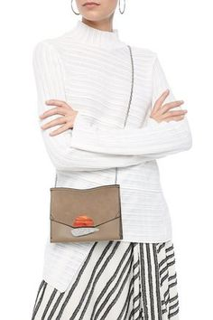 Proenza Schouler Woman Suede-paneled Appliquéd Textured-leather Shoulder Bag Mushroom In Neutrals Leather Shoulder Bag, Shoulder Bags, Proenza Schouler, World Of Fashion, Luxury Branding, Your Style, Stuffed Mushrooms, Crossbody Bag, Woman