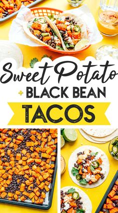 With caramelized potatoes, spiced black beans, and a creamy chipotle sauce, these sweet potato black bean tacos are the ultimate vegetarian taco! They're a flavor packed healthy taco recipe that's perfect for family lunch or dinner. Vegetarian Taco Filling, Vegetarian Mexican Recipes, Healthy Taco Recipes, Vegetarian Sandwich Recipes, Vegetarian Tacos, Healthy Tacos, Lunch Recipes, Easy Dinner Recipes, Beef Recipes