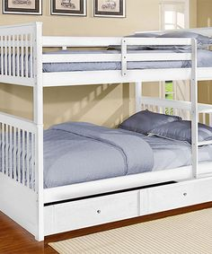 Love this White Madison Full-over-Full Unstackable Trundle Bunk Bed by Bella Esprit on #zulily! #zulilyfinds