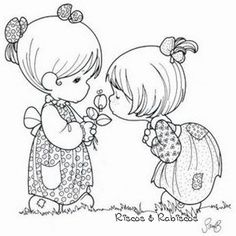 Cute little girls - Precious Moments coloring pages.