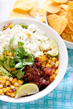 #Recipe: Guacamole with Goat Cheese, Grilled Mexican Corn, and Bacon