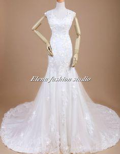 Wedding dress, Vintage lace wedding gown,  Chapel Train Bridal Gown, CUSTOM. $329.00, via Etsy.