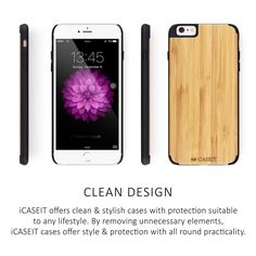 iCASEIT iPhone Wood Case - Premium Finish Unique Cases - Lightweight Natural Wooden Hybrid Snap-on Protective Cover for iPhone 6 & - Zebra Wood/Clear Iphone 6, Iphone Cases, 6s Plus Case, Watch Case, Clean Design, Cell Phone Accessories, Bamboo, Wood, Unique