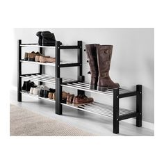 IKEA - TJUSIG, Shoe rack, black, , If you need more storage space for your… Kids Shoe Storage, Bench With Shoe Storage, Diy Storage, Storage Spaces, Storage Ideas, Ikea Hall Storage, Best Shoe Rack, Diy Shoe Rack, Shoe Racks