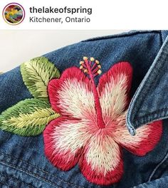 thelakeofspring brightening up some denim ✂️🌺 dmcembroidery dmcthreads embroiderylove modernembroidery handstitched handembroider Embroidery Fashion, Modern Embroidery, Ribbon Embroidery, Cross Stitch Embroidery, Embroidery Patterns, Thread Painting, Sewing Art, Embroidered Flowers, Hand Stitching