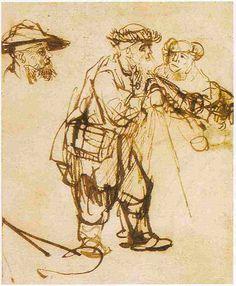 Blind Old Man Guided by a Woman - Rembrandt van Rijn.  c.1645-49.  Musee du Louvre, Paris, France.