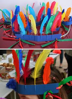 """Created by my friend Josefa. In 5 min an Indian! Cut a stripe (3cm) of cardboard with waves inside (perpendicular to waves) and then stick the feathers into the wave. To close it you use pipe cleaners...Creaciónde mi amiga Josefa ¡En 5 min un Indio! Recorta una banda (3cm) de cartón ondulado (perpendicular a las ondas) , pincha las plumas...."""