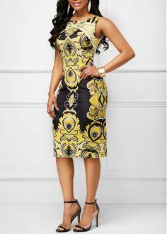 Sleeveless Round Neck Printed Sheath Dress