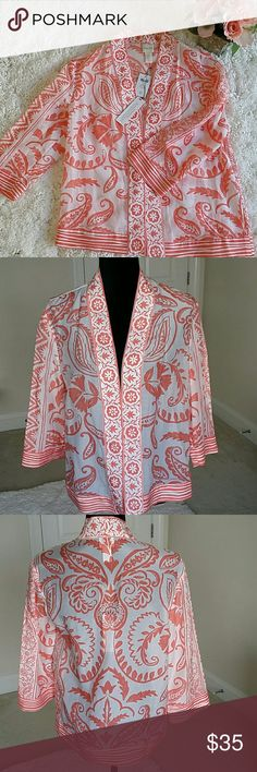 🆕Chico's Kimono jacket size small or Chico's 0 👉Description : Kimono style l fabulous l stylish l soft l super comfortable l  3/4 sleeves . 👉Material : 96% rayon, 4 % spandex. 👉Color : white and peach.  👉Condition : Brand New with tags. 👉Measurements : Will be provided on request. 👉Discount with bundles PRICE FIRM UNLESS BUNDLED.  No trades 🚫 Chico's Tops