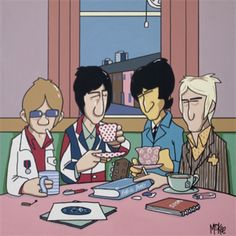 """Retro Man: Pete McKee """"Great Moments In Popular Music"""" Exhibition at Snap Galleries, Piccadilly Arcade, London - Ends Oct Pete Mckee, The Style Council, 60s Art, Music Illustration, Illustrations, Paul Weller, The Kinks, Pete Townshend, Music Images"""