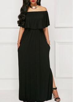 Off the Shoulder High Slit Black Maxi Dress on sale only US$33.95 now, buy cheap Off the Shoulder High Slit Black Maxi Dress at liligal.com