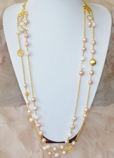 fresh water pink pearls and pink milky opals   - Outfit 496