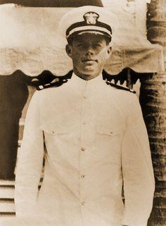 pre-President John F. Kennedy in uniform - served as a Lieutenant USNR. Sunk in PT Boat 109.