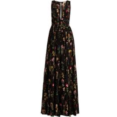 No. 21 Floral-print sheer-panel silk maxi dress (€1.125) ❤ liked on Polyvore featuring dresses, gowns, black print, floral-print maxi dresses, floral printed dress, silk dress, v neck dress and plunging v neck dress