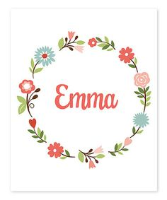 Look what I found on #zulily! White Floral Personalized Print #zulilyfinds
