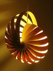 nautilus lamp; thinking maybe old vinyl blinds might be recycled here?