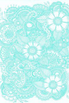 Henna Design - Aqua Art Print Put in white and make it a tattoo Cute Backgrounds, Wallpaper Backgrounds, Wallpapers, Mandalas Painting, Mandala Art, Textures Patterns, Print Patterns, Indian Patterns, Deco