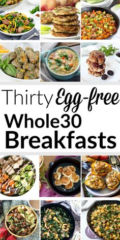 Thirty Egg-free Whole30 Breakfasts | Can't eat eggs? No problem. Here's 30 Egg-free Whole30 Breakfasts to fill you up and keep you satisfied so you can forget about that toast and cold cereal. | therealfoodrds.com Egg Free Recipes, Whole 30 Recipes, Whole Food Recipes, Healthy Recipes, Whole 30 Snacks, Detox Recipes, Cookie Recipes, Breakfast Desayunos, Egg Recipes For Breakfast
