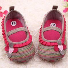 Barato Pano de algodão primeira Walker quatro   flor Baby Girl listrado sapatos de sola para crianças bonito da criança sapato frete grátis, Compro Qualidade Primeiros Caminhantes diretamente de fornecedores da China:                             100% Brand New e de alta qualidade!