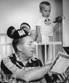 Walt Disney reads his grandson a story, 1955. (Life Magazine Photo)