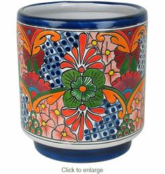 Cylinder Talavera Flower Pot