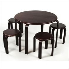 Lipper International Kids Table And Four Stools Set In Espresso Kids Tables