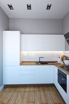 Белая кухня + деревянная столешница под ламинат + глянцевый черный наличник:
