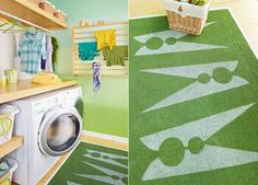 clothes peg rug. wall mounted dryer rack. counter over machines