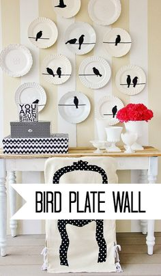Such a cute knock-off faux chair slipcover and bird plate wall! Also take wall decals & put on plates, etc. Not just the wall Diy Wall Art, Wall Art Decor, Diy Casa, Plates On Wall, Plate Wall, Hanging Plates, Slipcovers For Chairs, Diy Interior, Home And Deco