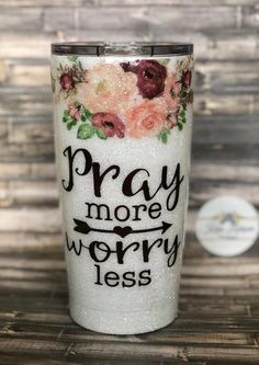Pray more worry less Glitter tumbler, pray more worry less glitter tumbler, bible verse, pray, chris Vinyl Tumblers, Glitter Tumblers, Glitter Cups, Custom Tumblers, Mom Tumbler, Tumbler Stuff, Tumbler Quotes, Thermos, Tumblr Cup
