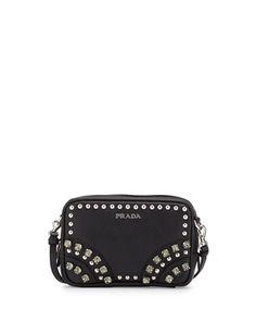 Saffiano Crystal Crossbody Bag, Black (Nero) by Prada at Bergdorf Goodman.
