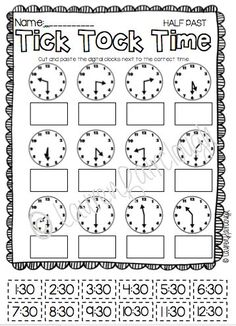 Telling Time Pack {Worksheets, Game & Task Cards