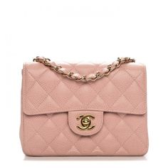 CHANEL Caviar Quilted Mini Square Flap Pink ❤ liked on Polyvore featuring bags, handbags, shoulder bags, leather purses, red leather purse, vintage leather purse, chanel shoulder bag and vintage leather handbags