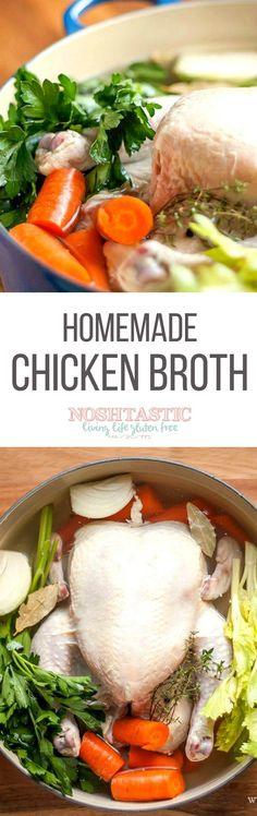 A very easy One Pot recipe for homemade Paleo Chicken Broth that's a great alternative to the store bought varieties. It's Gluten Free, Paleo Slow Cooker Recipes, Paleo Recipes, Crockpot Recipes, Soup Recipes, Whole Food Recipes, Chicken Recipes, Cooking Recipes, Passover Recipes, Cleanse Recipes