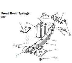 Front suspension diagram for LAND ROVER SERIES II 88/109
